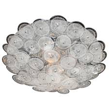 mid century modern flush mount chandelier with handblown murano glass discs for
