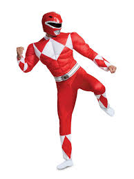 Light Blue Power Ranger Costume Muscle Classic Adult Mighty Morphin Red Power Ranger Costume