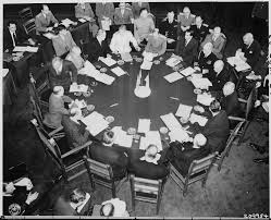 file closer view of round conference table from above taken at the potsdam conference