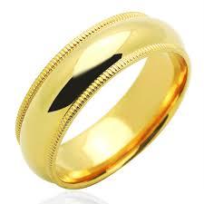 Double Accent 14k Yellow Gold 6mm Comfort Fit Milgrain Plain