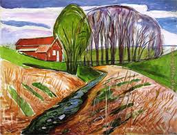 spring landscape at the red house 1935 painting edvard munch spring landscape at the red