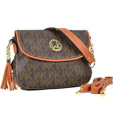 Womens Handbag Monogram Logo Faux Leather Messenger Bags Crossbody ...