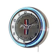 purchase ford mustang legend lives on double neon clock