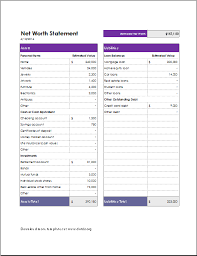 Personal Assets And Liabilities Statement Template Net Worth Form Insaat Mcpgroup Co