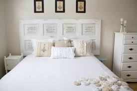 bedroom contemporary white wooden old door headboard ideas with white beding sets plus white wooden