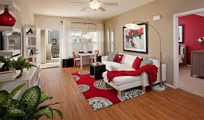 ... Living Room, Red Living Room Ideas With Wooden Floor And White Sofa And  Cushion And ...
