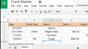 Checking Account Balance Worksheet Create A Check Register Using
