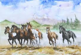saatchi art wild horses running painting by mauri virtanen