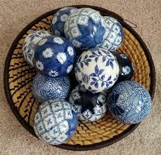 Decorative Sphere Balls Lot 60 BOMBAY CHINA Porcelain Balls BLUE WHITE Decorative SPHERE 44