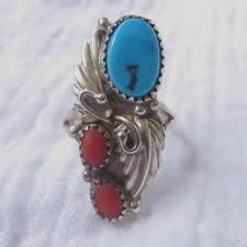navajo sterling ring turquoise c signed scott dave vin vine jewels vine jewelry