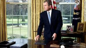 desk in oval office. President George W. Bush Gets Up From His Desk In The Oval Office Of