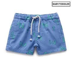 Purebaby Baby Toddler Boys Hot Chilli Shorts Blue Cacti Print