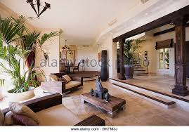 Tall houseplant in large split-level open-plan hall living room with statue  on