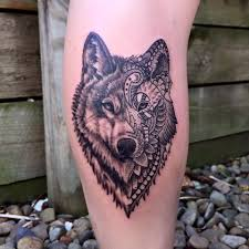 Side Leg Mandala Wolf Tattoo For Girls