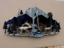 waterfall and bull cow elk on waterfall metal wall art with m c metal art