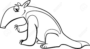 Small Picture Black And White Cartoon Illustration Of Tamandua Anteater Animal