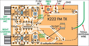 quality stereo wireless microphone or audio link circuit diagram fm transmitter circuit schematic