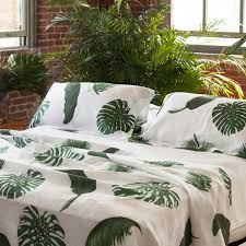 tropical leaves white linen top sheet pure linen luxury bed linens palm print huddleson linens