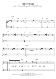 ed sheeran sheet music tenerife sea piano sheet music by ed sheeran easy piano