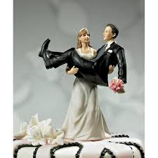 Wedding Cake Toppers Funny Bride Holding Groom