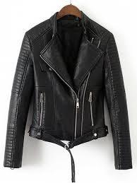 womens faux leather belted biker jacket black m
