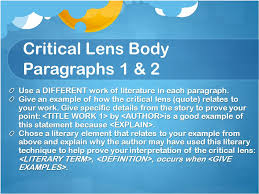 critical lens essays christine larubio silberberg english  8 critical