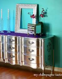 Diy metallic furniture French Provincial Dresser Silver Dresser Metallic Dresser Metallic Furniture Silver Dresser Mirrored Dresser Paint Furniture Pinterest 75 Best Metallic Home Decor Images Furniture Makeover Painted
