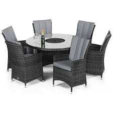 rattan la 6 seat round dining set with ice bucket and parasol grey robert dyas