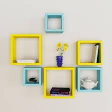 nesting square wall shelf rack unit  sky blue  yellow