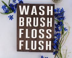 Kids bathroom sign Beautiful Kids Bathroom Art Wash Brush Floss Flush Bathroom Art Bathroom Sign Rustic Bathroom Decor Kids Bathroom Ebay Buy Kids Bathroom Art Wash Brush Floss Flush Bathroom Art Bathroom
