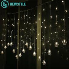 Curtain String Led Lights Us 11 11 35 Off String Lights Christmas Outdoor Decor 3 5m 96 Leds Drop 65cm Curtain Snowflake String Led Lights Garden Party Holiday Lighting In