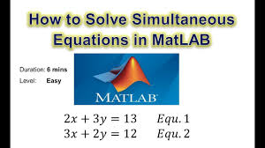 how to solve simultaneous equations in matlab using linsolve and solve