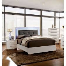 Furniture of America Acrysta Contemporary 3-Piece White Bedroom Set, Multiple Sizes