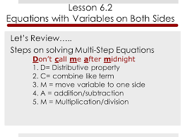 steps on solving multi step equations