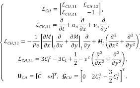 and solution vectors in eq 22 for the cahn hilliard and navier stokes equations are given in eq 32 and eq 33 respectively