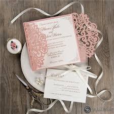 Elegant Blush Pink Laser Cut Wedding Invitations With White Ribbon Swws121 Stylishwedd