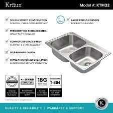 Kraus 33 Top Mount Double Bowl Kitchen Sink Stainless Steel Ktm32