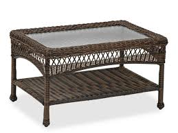 lakes 30 x 19 rectangular aluminum woven resin wicker glass top coffee table