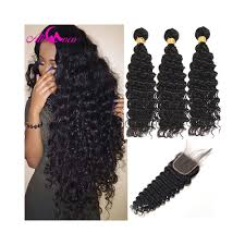 Ali Coco Brazilian Deep Wave 3 Bundles With Closure 100