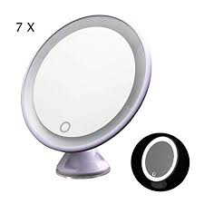 tfcfl 7x magnifying lighted makeup mirror 360 rotating led lighted cosmetic vanity mirror with suction base for shaving tweezing tabletop