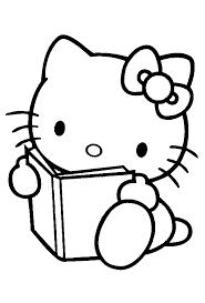 Disegno Di Hello Kitty Col Libro Da Colorare Per Bambini