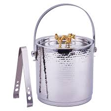 stainless steel ice bucket. Old Dutch Dragon Handle Hammered Ice Bucket Stainless Steel With Lid And Tong