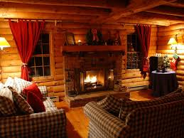 Log Cabin Living Room Decor Inviting Living Room With Wood Burning Fireplace West Wardsboro