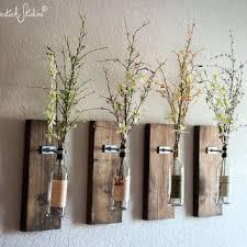 Wine Bottle Wall Vase / Set of Four - Rustic Modern Decorations - Wine Decor  -