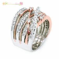 AT 925 Silver Fashion Cross Zircon Ring <b>Shining Crystal Women</b> ...