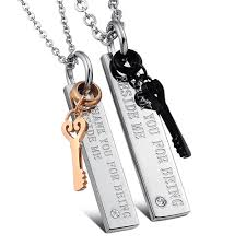 details about stainless steel couple love key pendant necklace jewelry gift for women men