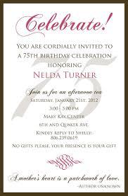 th birthday invitation wording sles invitation templates throughout luxury birthday invitation wording sles trend 75th birthday invitation template