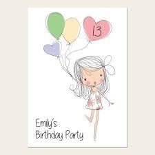 13th Party Invitations Teen Birthday Invitations 13th Birthday Cute Girl Balloons