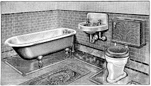 bathroom clipart black and white. Fine Bathroom Here Is A Black And White Clip Art Version Vintage Bathroom Bathroom  Art Claw Foot Tub Illus Antique Toilet Restroom On Bathroom Clipart Black And White R
