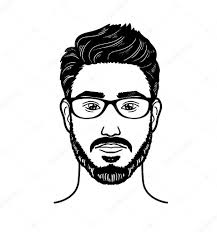 Vector Portrait Hipster Image Of Bearded Man For Barbershop Stock